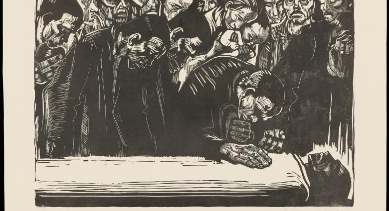 woodcut print to mourners gathering over a dead person