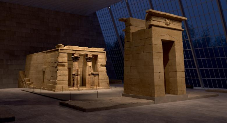 Digitally rendered view of the Temple of Dendur inside The Met at night.