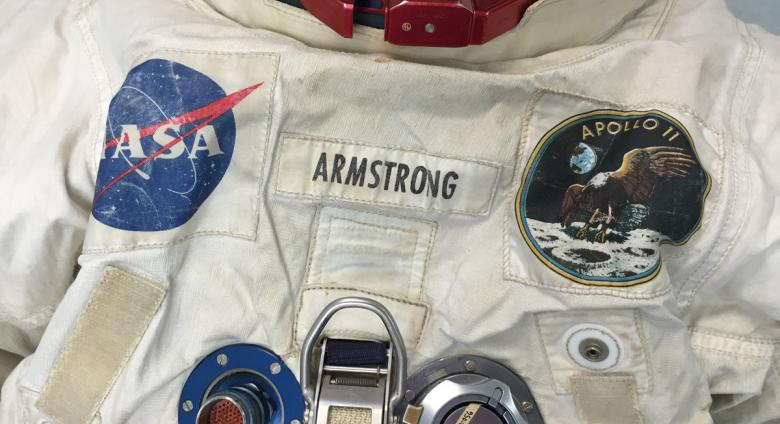 A close-up of Neil Armstrong's Apollo 11 spacesuit