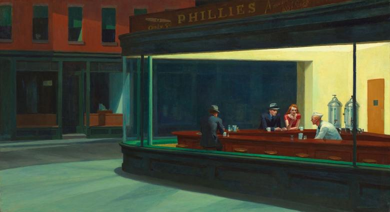 Edward Hopper's Nighthawks painting shows diners at a counter late at night