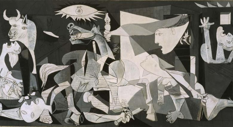 Picasso's Guernica painting in black and white with animals and people crying out in agony