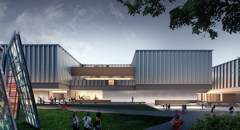 Architectural rendering of Princeton's new art museum, a modern building