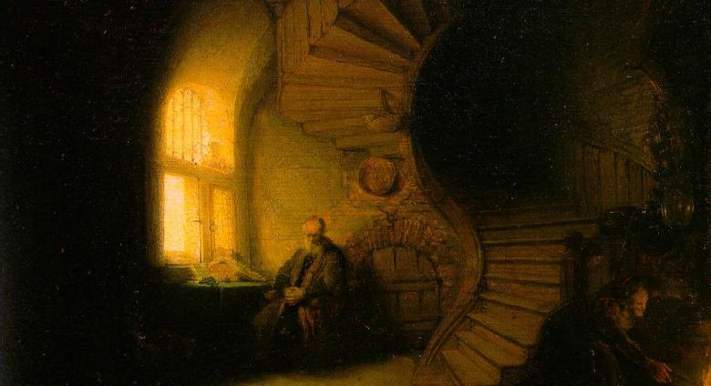 Rembrandt painting of a curving stairwell with man seated at the bottom