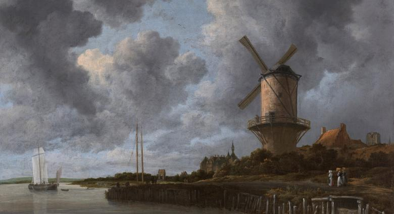 Jacob van Ruisdael landscape painting of a windmill