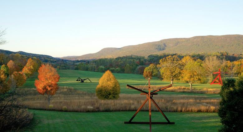 photo of Storm King Art Center, a landscape with rolling green hills dotted with large sculptures