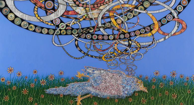 Fred Tomaselli collaged painting of a bird lying in green grass with a cloud of snake-like coils rising above it