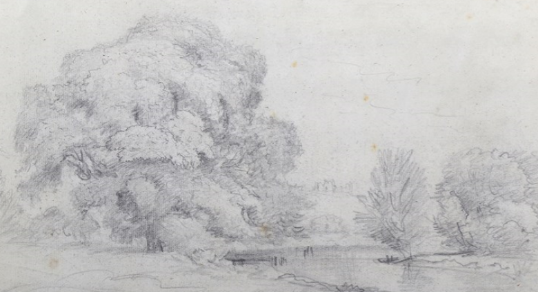 John Constable, A River Landscape: A group of tall trees on the left, a bend of the river with willows on the far bank on the right, in the background a hill with a castle. Estimate: £6,000- £8,000.
