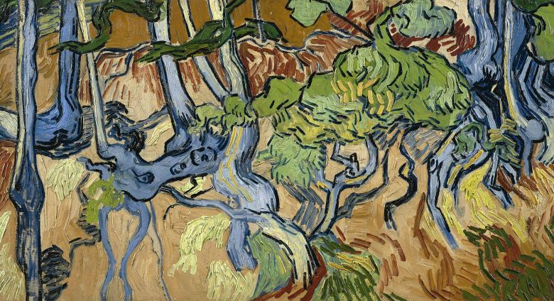 Vincent van Gogh painting of tangled blue roots