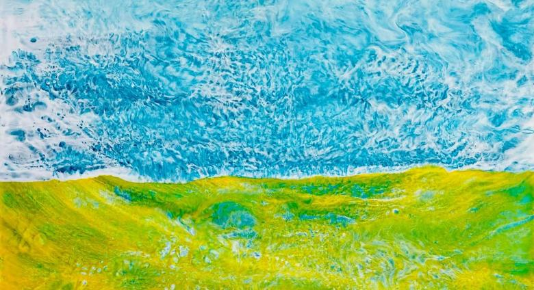 Green and blue textured painting that abstractly resembles a cascading valley that runs into a sky.