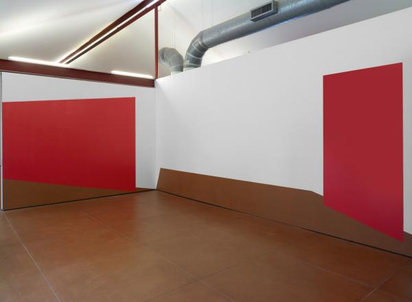 Kate Shepherd large red canvases in a gallery