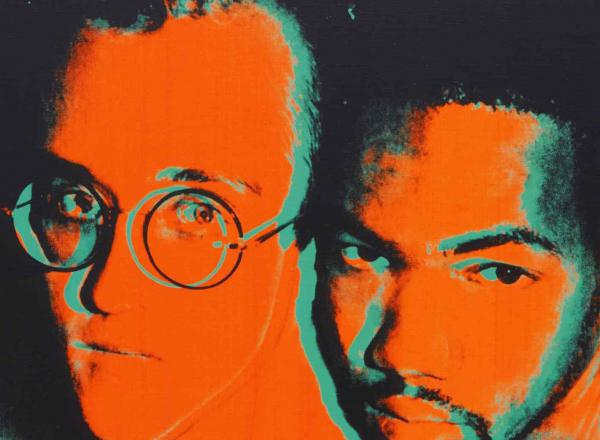 Andy Warhol orange and blue portrait of Keith Haring and Juan DuBose