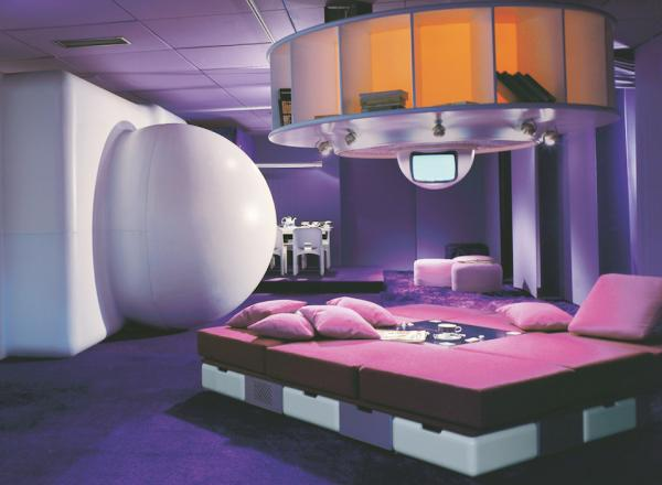 Joe Colombo (designer and client), Visiona I, bedroom-living room, Milan, Italy, completed 1968.