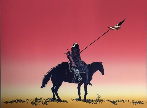 a dark figure with a long spear riding a black horse set against a red sky