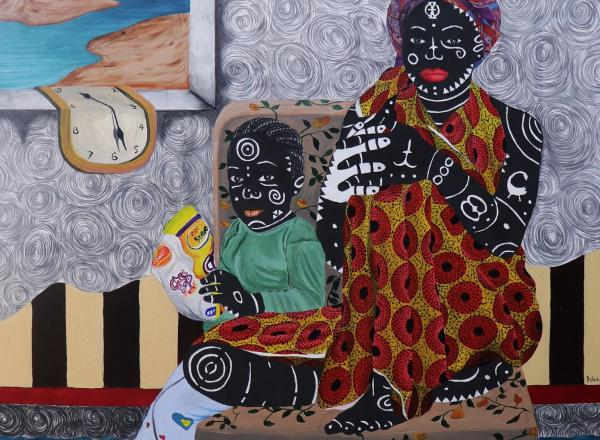 Kelechi Nwaneri painting of two figures in a chair with water at their feet