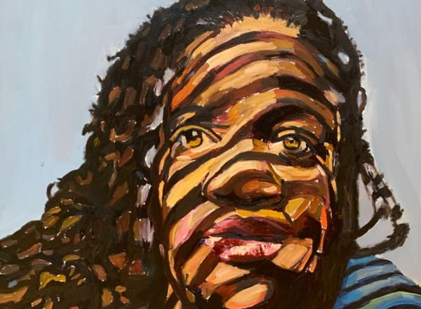 Beverly McIver painting of a black woman with striped shadows falling across her face