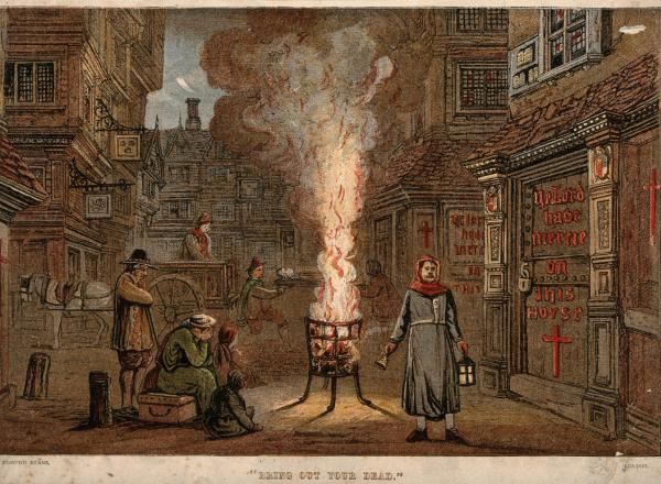 "A street during the plague in London with a death cart and mourners. ""Bring out your dead."" Edmund Evans. London."