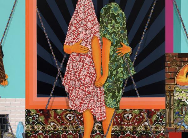 Amir H Fallah painting, two shrouded figures in the center with bright colors and patterns