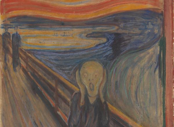 Edvard Munch, The Scream, 1893 painting of a wavy figure with hands raised to face and mouth open screaming in front of a fiery sky