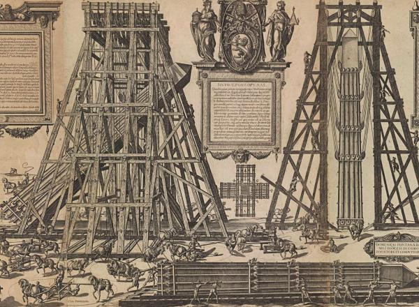 print showing the mechanics involved in moving a stone obelisk