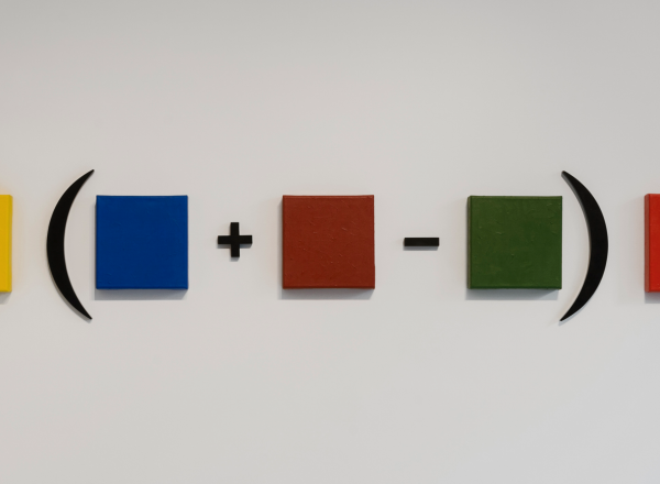 Horacio Zabala artwork showing a math equation with colorful squares instead of numbers
