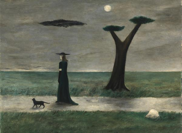 Gertrude Abercrombie surrealist painting of a woman in black walking a dog with black trees against a grey sky