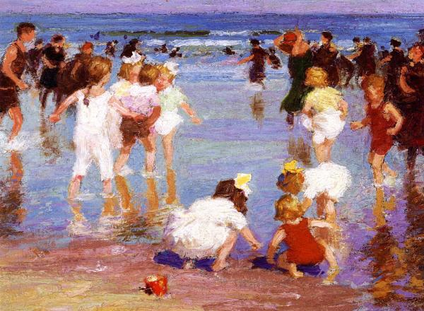 Edward Potthast painting of figures on the beach