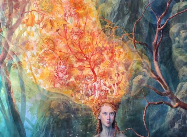 Julie Heffernan painting of a woman in a forest with her hair aflame