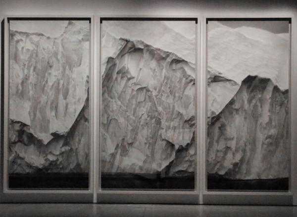 Robert Longo triptych of an iceberg drawn in charcoal