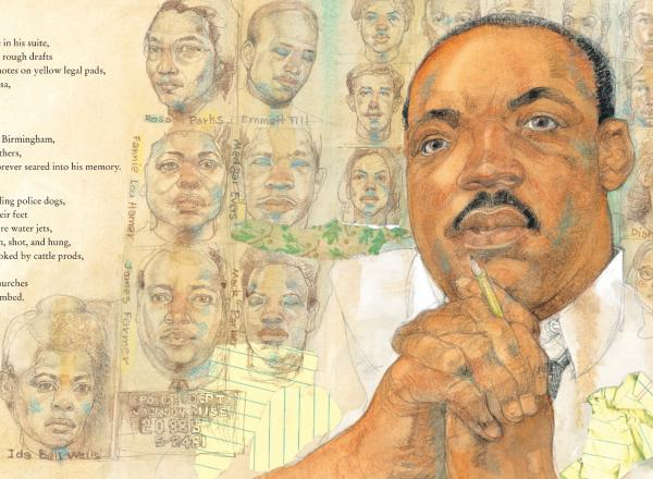 Jerry Pinkney Illustration of MLK Jr and other civil rights leaders