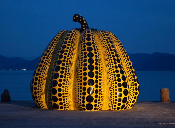 Kusama giant yellow pumpkin sculpture