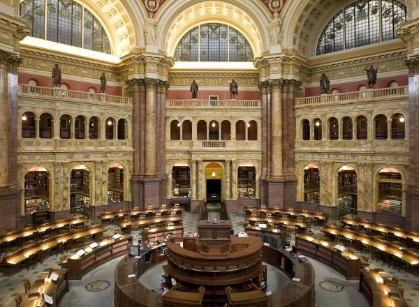 The main reading room at the Library of Congress, Thomas Jefferson Building.