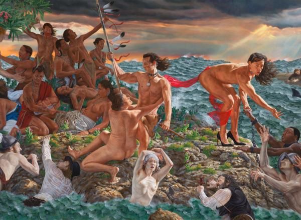 Kent Monkman large-scale painting of Native Americans on the shore