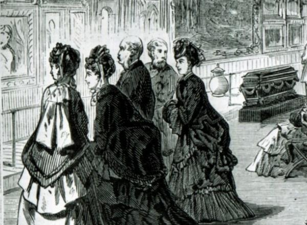 "Opening reception on February 20, 1872, in the picture gallery in Dodworth Mansion (681 Fifth Avenue), the first home of The Metropolitan Museum of Art. Wood engraving from ""Frank Leslies's Illustrated Newspaper,"" March 9, 1872."