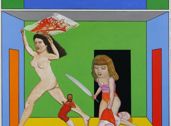 Pat Andrea painting of a two women in a brightly colored room, one holds a knife the other is nude