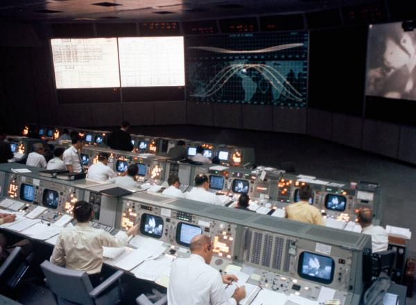Overall view of the Mission Operations Control Room in the Mission Control Center, Building 30, during the Apollo 9 Earth-orbital mission.