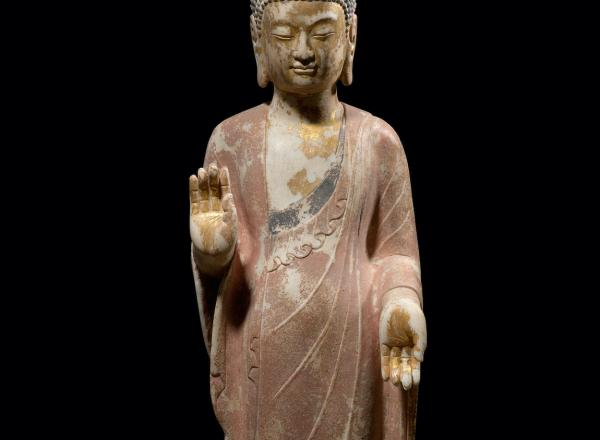 Standing Buddha, Northern Qi Period, 550-577 CE, H: 42 in, Marble with Gilt and Polychrome, detail.