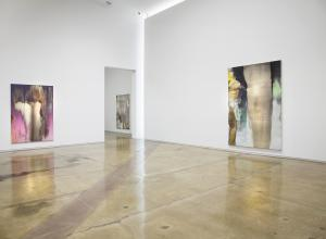 Installation view of Nir Hod: The Life We Left Behind at Kohn Gallery, Los Angeles. A large white room with large iridescent canvases