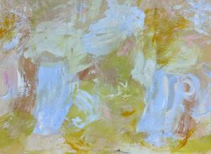 yellow and white canvas created with large, abstract and soft paint marks.