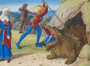 Taming the Tarasque, from Hours of Henry VIII (detail), c. 1500.