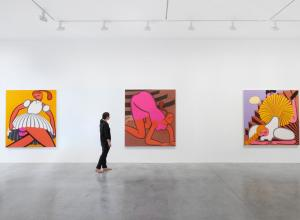 three large paintings by Grace Weaver in a white gallery with one person looking at them