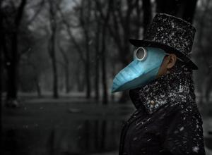 man in black plague bird mask