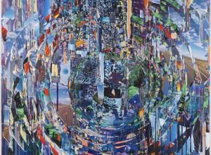 Sarah Sze abstract collaged painting in swirling blues