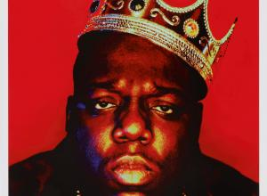 Portrait of Notorious BIG wearing a plastic crown in front of a red background