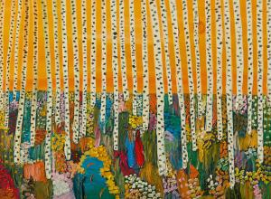 Matthew Wong Painting of birch trees against a yellow sky with a colorful ground