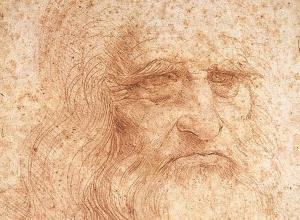 Leonardo da Vinci, Portrait of a man in red chalk (presumed self-portrait, detail), c. 1512.