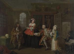 William Hogarth painting of a young man leading his sickly child bride to a nefarious doctor