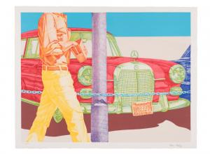 Don Eddy (American, born 1944), Red Mercedes. Color lithograph, 1972.