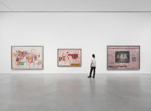 Installation view, 'Philip Guston. 1969-1979,' Hauser & Wirth New York, 22nd Street, 2021. Picturing: 'A Day's Work,' 1970, Private Collection; 'Scared Stiff,' 1970, Private Collection; 'Blackboard' 1969, Private Collection