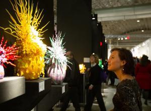 Woman looks at sculpture at SOFA