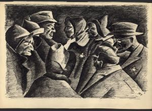 drawing by holocaust survivor Peter Loewenstein in black and white ink depicts a scene from the Holocaust using faces, profiles, and jackets with stars on them